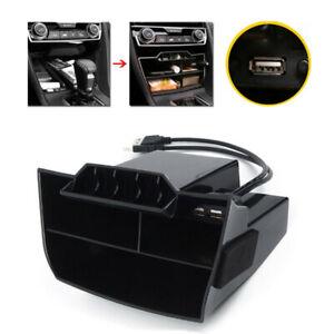 For Honda Civic 2016-2019 Black Console Central Storage Box + USB Accessories