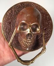 Bronze Skull Copperish Door Kocker Statue Figure All  Metal