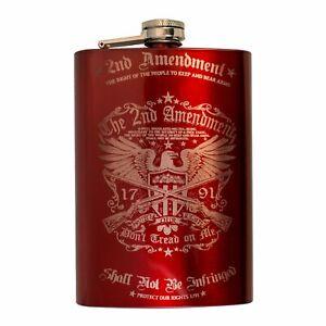 8oz RED 2nd Amendment Flask L1
