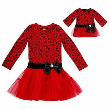 Dollie Me Girl 4-12 and Doll Matching Red Black Fancy Dress Outfit American Girl