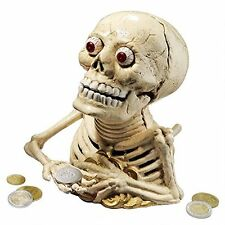 SP02365 Bugged-Out Skeleton Cast Iron Mechanical Coin Bank - New!