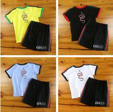 1 Set New Kids Girl Boy Snake Alphabet Summer Shirt Top Tee & Pant