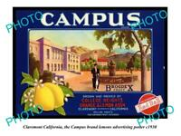 OLD LARGE HISTORIC PHOTO OF CLAREMONT CALIFORNIA, CAMPUS LEMONS POSTER c1930