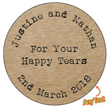 105 x PERSONALISED HAPPY TEARS Wedding Brown Kraft Effect Favour Stickers -- 516