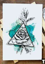 21cm x 15cm Fake Temporary Tattoo Colourful Triangle Rose /-b630-/