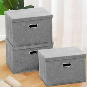 2 pcs Large Foldable Storage Boxes with Lid Home Clothes Organizer Fabric