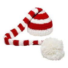 Christmas Crochet Knit Baby Photo Hat White Red R1K1