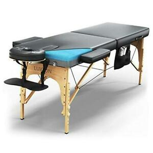 Premium Memory Foam Massage Table - Easy Set Up - Foldable & Portable with