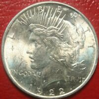 1922 Peace Silver Dollar , BU UNCIRCULATED , 90% Silver US Coin