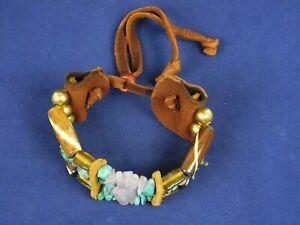 Southwest Boho Beads Wide Bracelet Leather Turquoise Amethyst Glass Beads
