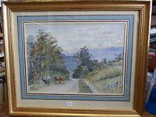 aquarelle de Henri Laurent Mouren - boeufs sur un chemin de montagne
