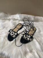 Ivanka Trump Size 8M lace up flat sandals Flower Design