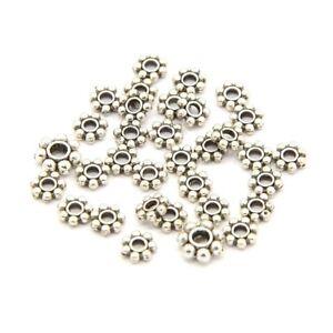 Lot Of 100 Beads Interlayers Caps Flowers Daisy 4,5mm Silver Dark Jewelry