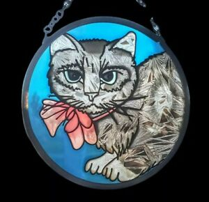 Cat Sun Catcher Stained Glass Vintage Handmade Lot of 2 Textured Hanging Decor