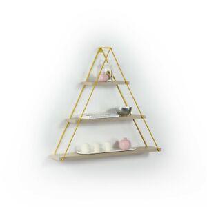 Triangle Shelf Decorative Triangle Shelf, Wall Hanging, Wall Shelf Oak/Yellow