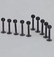 ACCIAIO Inossidabile nero bordo a incastro CHIN orecchio naso orecchini barra LABRET BALL corpo (4mm)