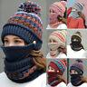 3pcs Women Beanie Hat Pom Bobble Scarf Mask Set Knitted Winter Warm Snow Ski Cap
