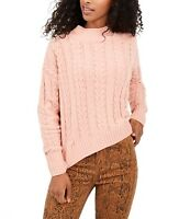 Hippie Rose Juniors' Cable-Knit Drop-Shoulder Sweater - Everyday Peach Size: XL