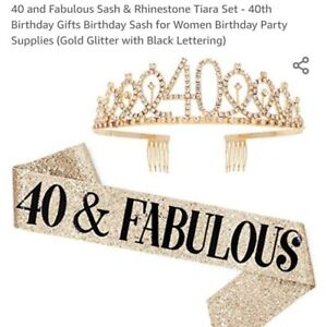 40 & Fabulous Sash and Tiara for 40th Birthday Womens Gold & Black