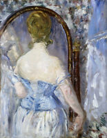 "Vintage French Art Manet CANVAS PRINT Before the Mirror painting poster 16""X12"""
