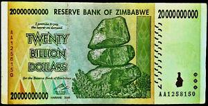 Zimbabwe 20 BILLION Dollars Banknotes  2008*AA*(P-86)Notes x 1 UNC
