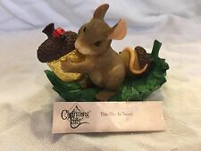 "Charming Tails ""This One Is Yours"" Signed - Gold Acorn Mouse Fall Fitz And Floyd"
