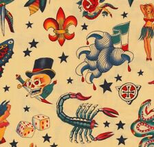 Alexander Henry Gothic Tattoo Fabric Butterfly Skulls & Hearts on Pale Tea - FQ