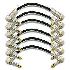 """6,Guitar Effect Pedal Board Instrument Patch Cord Cables 7"""" 1/4"""" Right Angle"""
