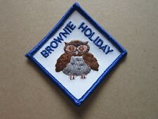 Brownie Holiday Girl Guides Cloth Patch Badge L5K F