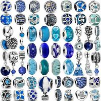 Pop Hot Fashion Charms Blue Bead For Women 925 Sterling Silver Bracelets Bangle