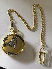 A1 Horse Head Made of English Pewter on a Gold Pocket Watch Quartz fob
