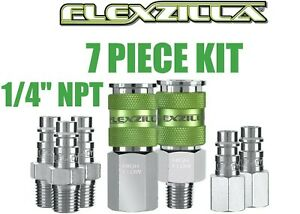 "7pc Legacy Flexzilla 1/4"" Pro High Flow Air Hose Coupler Fitting Set A53457FZ"