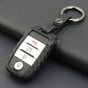 For Kia Optima/Sorento/Soul/Sportage Carbon Fiber Smart Key Fob Chain Case Cover