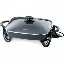 Black Rectangular Electric Skillet W/ Glass Cover 16-inch Non Stick Home Kitchen