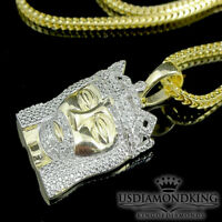 Mini .25ct Genuine Real Diamond 10k Yellow Gold Finish Jesus Head Necklace Chain