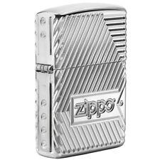 Zippo Armor High Polish Chrome Lighter, Bolts, 2-Sided, Multi-Cut, 29672