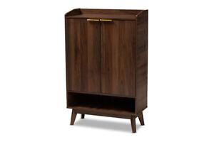 Baxton Studio Lena Mid-Century Modern Walnut Brown Finished 5-Shelf Wood Entr...
