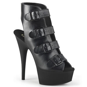 """Pleaser 6"""" Heel Pf Buckled-up Strappy Ankle Bootie Adult Women DELIGHT/683"""