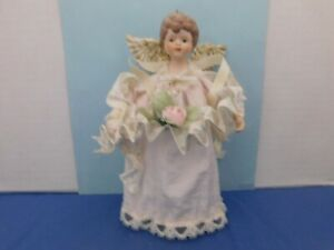 "Vintage Pink Angel Tree Topper Ornament Roses Plastic Wings 8"""