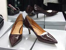 Cecille BNIB UK 7 Exquisite Kitten Heels Patent Maroon Leather Court Shoes EU40