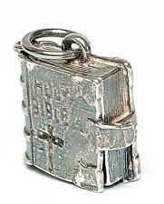 VINTAGE SILVER OPENING HOLY BIBLE CHARM