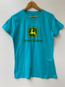JOHN DEERE blue logo unisex short sleeve t-shirt size M exc. condition