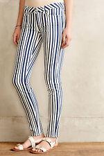 NWT Paige Denim Verdugo Ultra Skinny in White Navy Cyprus Stripe Stretch Jean 23