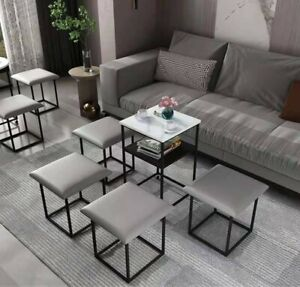 Cube 5-in-1 Ottoman Space Saving Chair, Grey, New