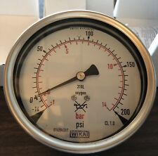 "Wika Pressure / Vacuum Gauge, -1-14 bar (-14-200 psi), 316L, O2 Rated, ¼"" NPT"