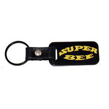 Dodge Charger Super Bee Satin Black Key Chain Fob - Engraved in Yellow