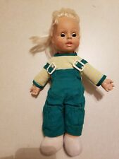 "Vintage 1986 Uneeda Doll Company 12"" Doll With Green Overalls"