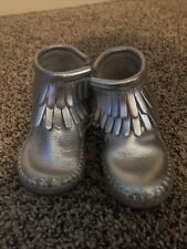 Size 5 Toddler Girl Minnetonka Silver Boots