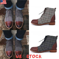 Men Plaid Combat Leather Ankle Boots Lace Up Pointed Toe Formal Smart Shoes Size