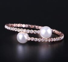 "Women Rose Gold Color Plated Rhinestone Pearl Cuff Bangle Bracelet Jewelry 6"""